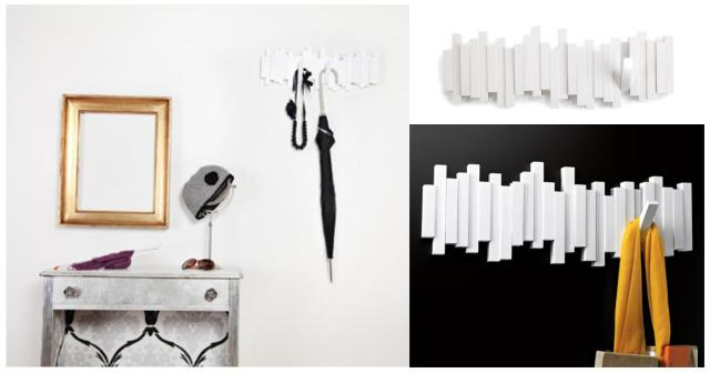 Perchero de pared Stick blanco